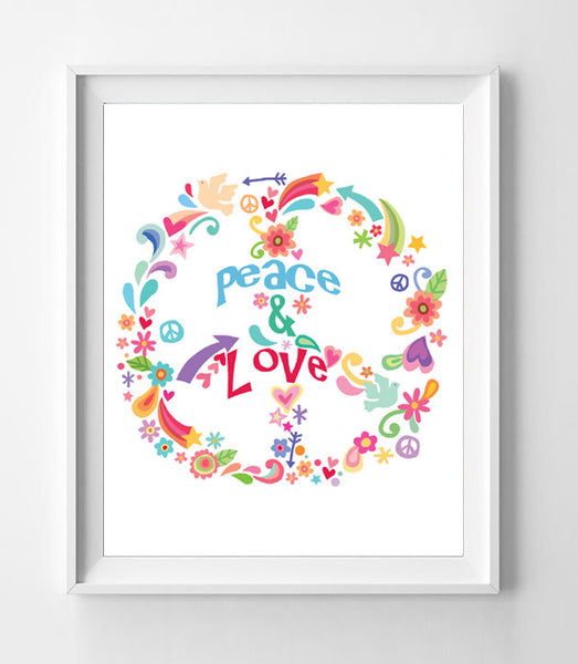 FLOWERS and HEARTS PEACE and LOVE SIGN 8x10 Wall Art INSTANT DOWNLOAD - J & S Graphics