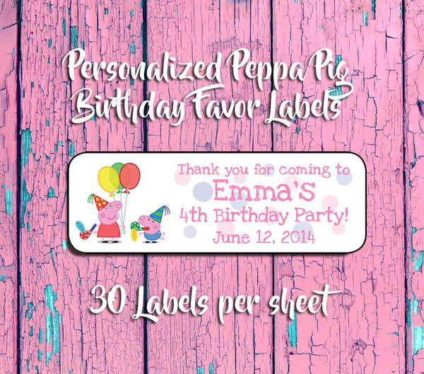 PEPPA PIG BIRTHDAY Party Favor Labels, Return Address Labels