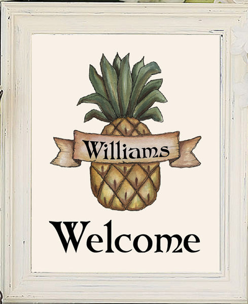 Personalized Pineapple Welcome Design Wall Decor Art Print 8x10 - J & S Graphics