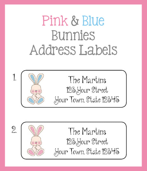 Adorable Pink and Blue Bunnies Personalized Return ADDRESS Labels, Bunny - J & S Graphics