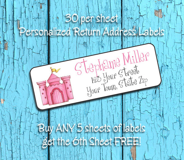 Personalized PINK CASTLE Return ADDRESS Labels - J & S Graphics
