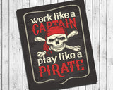 "WORK LIKE A CAPTAIN, PLAY LIKE A PIRATE Digital ""Faux Chalkboard"" Design Typography Wall Decor INSTANT DOWNLOAD"