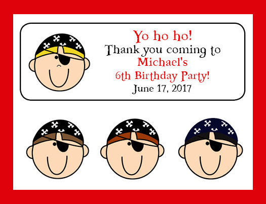Personalized PIRATE Boy Birthday Party Labels for Mini Bubbles, Favors or Address Labels