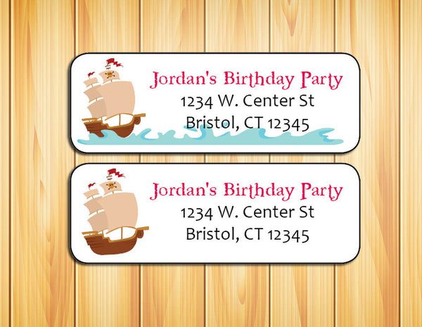 personalized pirate ship birthday party address labels return