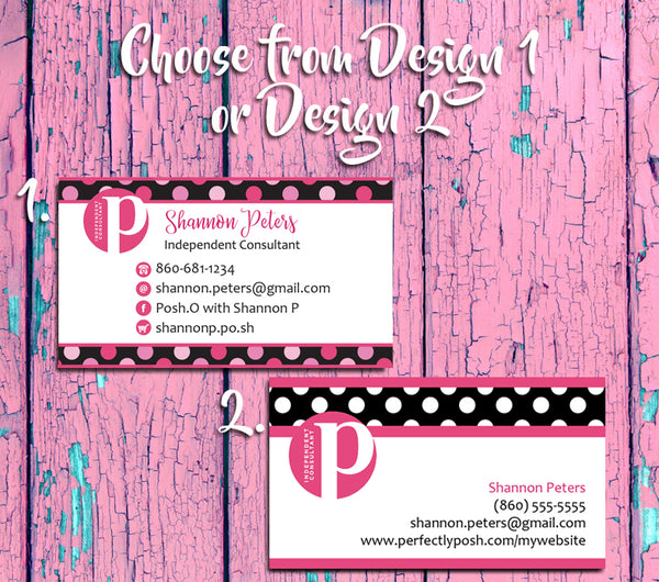 PERFECTLY POSH Consultant Business Cards - Personalized and Printed - NEW POSH LOGO