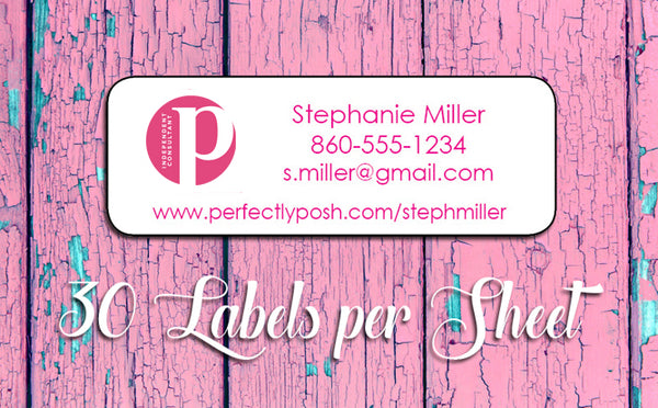 Personalized Perfectly Posh CATALOG or Address LABELS, Home Parties, NEW POSH LOGO