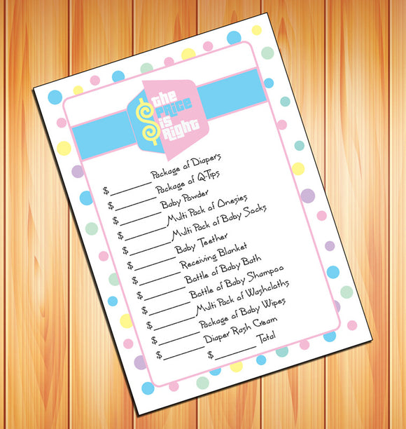 PRICE is RIGHT Baby Shower GAME - Instant Download - Baby Shower - Game - Digital File - J & S Graphics