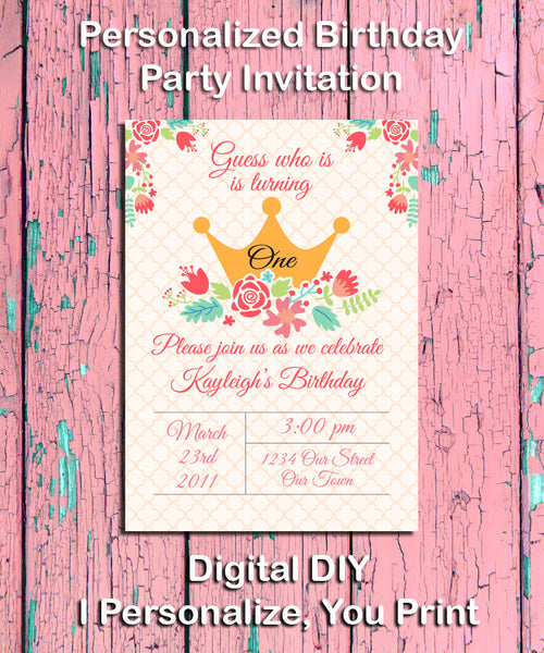 Printable PRINCESS Birthday Party Invitation, Little Girl - Personalized DIGITAL FILE - J & S Graphics