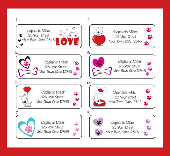 Personalized PUPPY LOVE, Dogs, Puppies Return Address Labels - J & S Graphics