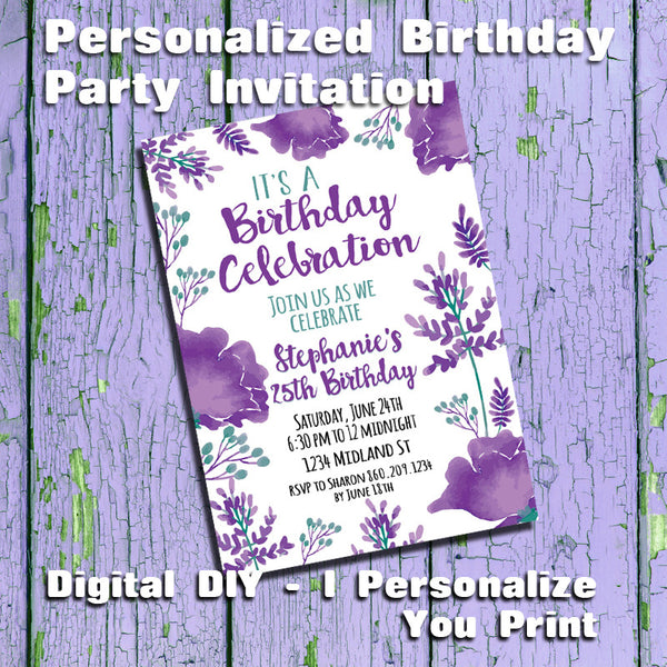 Printable Purple Flowers Personalized Birthday Party Invitation - DIGITAL FILE - J & S Graphics