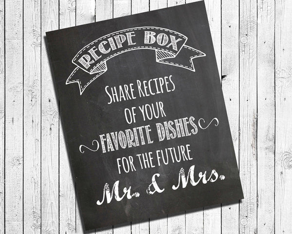 Rustic Look RECIPE BOX Sign for Bridal Shower, Instant Download 8x10 Printable Digital Faux Chalkboard Style DIY Wedding Sign, You Print, Recipes - J & S Graphics