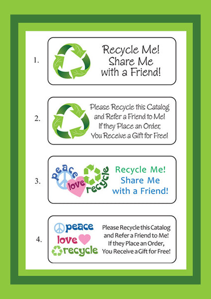 RECYCLE LABELS for Home Party Catalogs, Brochures, Avon, Scentsy, Mary Kay, Thirty-One, Tupperware - J & S Graphics
