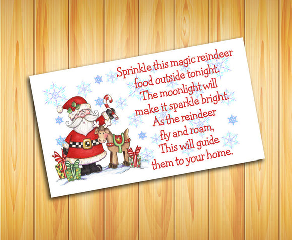 Christmas LABELS for REINDEER FOOD Bags - Fun for Kids! Christmas Eve Tradition - J & S Graphics