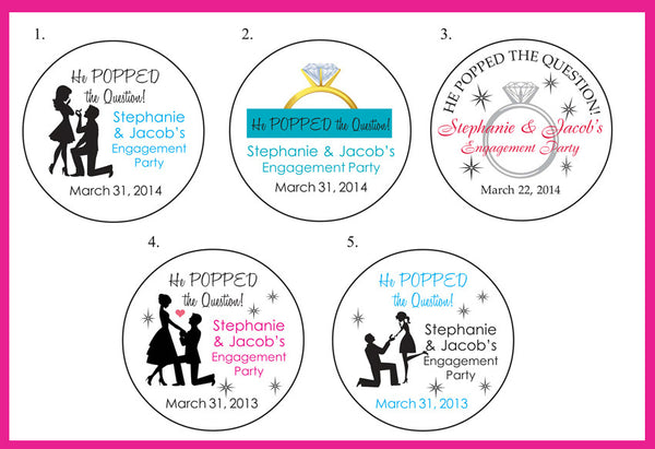 "ENGAGEMENT Party 2"" ROUND Personalized Favor LABELS He Popped the Question - J & S Graphics"