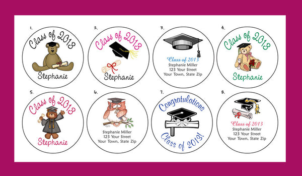 "GRADUATION PARTY 2"" ROUND Personalized Favor LABELS, Class of 2017, Class of 2018 - J & S Graphics"