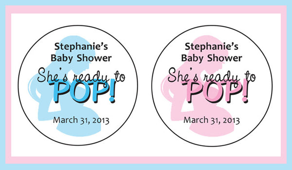 "Ready to POP BABY SHOWER 2"" Round Custom Labels / Stickers for Popcorn Favors - 20 per sheet - J & S Graphics"