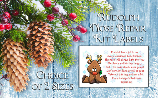 Christmas Fun! RUDOLPH NOSE REPAIR KIT CHRISTMAS Labels for Goody Bags, Fun for Kids and Adults! - J & S Graphics