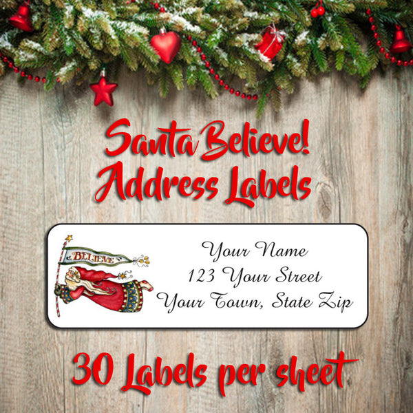 Personalized CHRISTMAS Address Labels, Family Victorian SANTA Believe in Santa - J & S Graphics