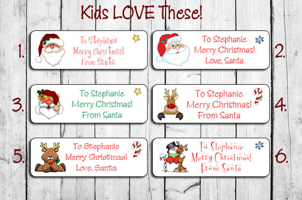 Christmas Gift Tags For Kids.Personalized Christmas Santa Labels For Kids Gifts Personalized Christmas Santa Gift Labels
