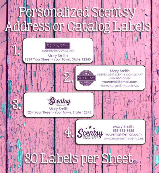 Personalized SCENTSY Consultant Catalog Labels or Address Labels, 30 Labels, Home Parties - J & S Graphics