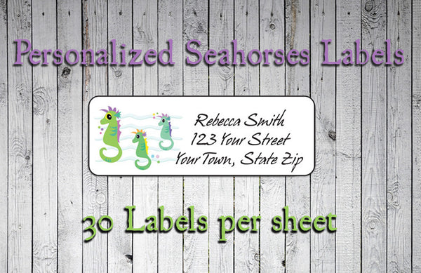 SEAHORSES Personalized Return ADDRESS Labels
