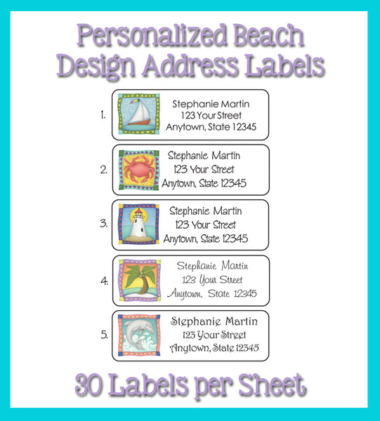 BEACH Personalized Address Labels Seaside, Beach, Ocean Return Address LABELS - J & S Graphics