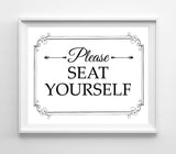Please Seat Yourself Design Restaurant Print 8x10 4 Styles to choose from