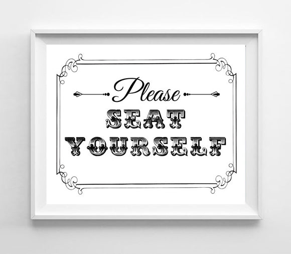 Printable Please Seat Yourself Instant Download Wall Decor 8x10 Humorous Bathroom Decor - J & S Graphics