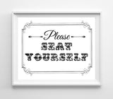 Please Seat Yourself Design Restaurant Print 8x10 4 Styles to choose from - J & S Graphics