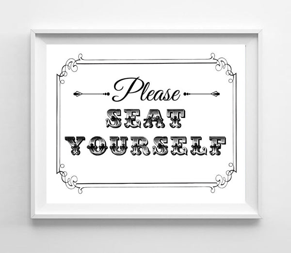 Please Seat Yourself Design Restaurant Print 8x10 4 Styles - J & S Graphics