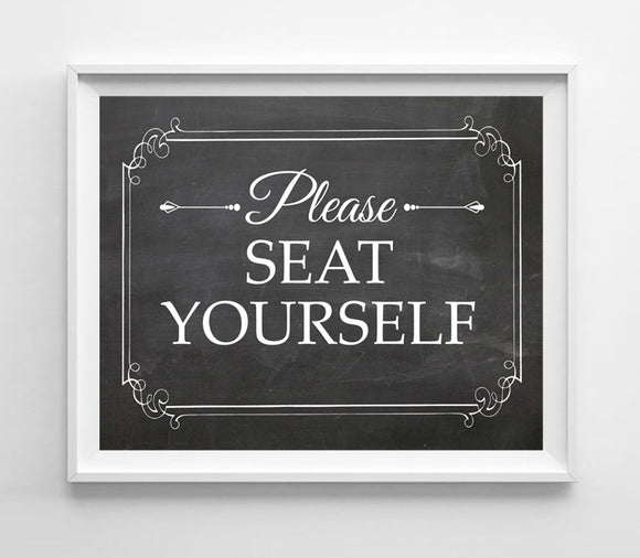 Printable Please Seat Yourself Instant Download Restaurant 8x10 4 Styles to choose from - J & S Graphics