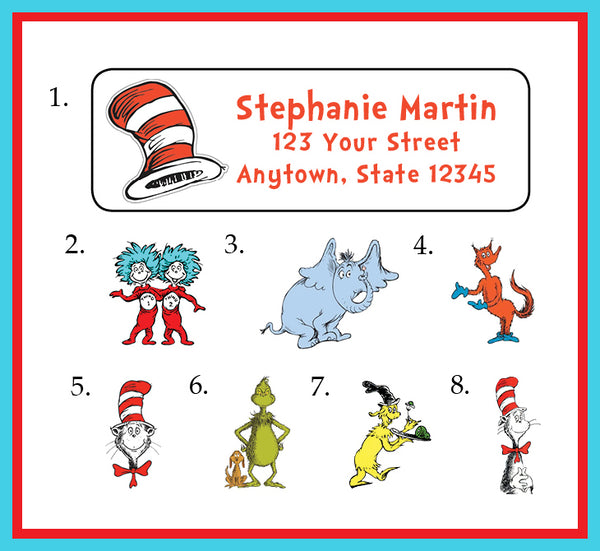 Personalized DR SEUSS Design Return ADDRESS Labels, Cat in the Hat, Fox in Socks, Grinch - J & S Graphics