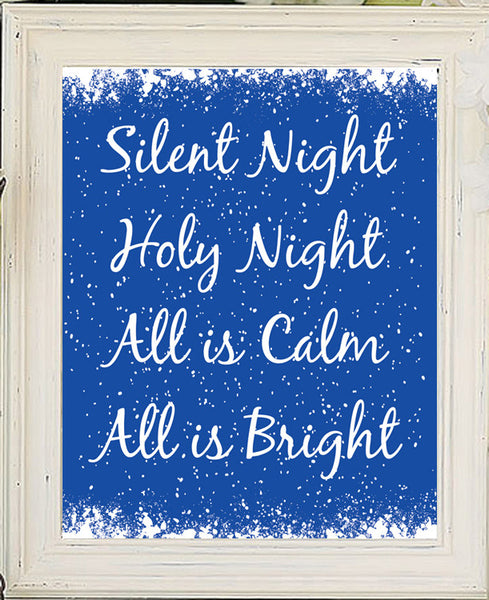 SILENT NIGHT Christmas Decor 8x10 Wall Art INSTANT DOWNLOAD - J & S Graphics
