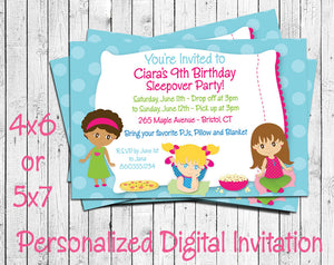 photo about Printable Sleepover Invitations identified as Printable Sleepover Birthday Get together Invitation - Custom-made Electronic History