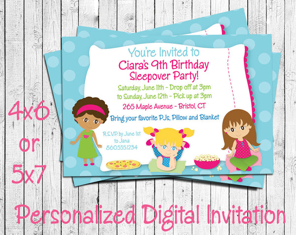 Printable Sleepover Birthday Party Invitation - Personalized DIGITAL FILE - J & S Graphics