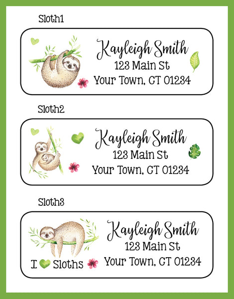 Adorable Personalized SLOTH Return Address LABELS, I Love Sloths - J & S Graphics