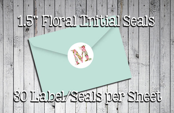 "FLORAL INITIAL Round Envelope SEALS 1.5"" Round, Wedding, Engagement, Everyday LABELS - J & S Graphics"