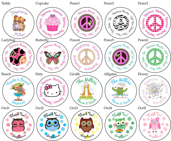 "Round Everyday LABELS / STICKERS / SEALS -  1.5"" Personalized - Return Address Labels - J & S Graphics"
