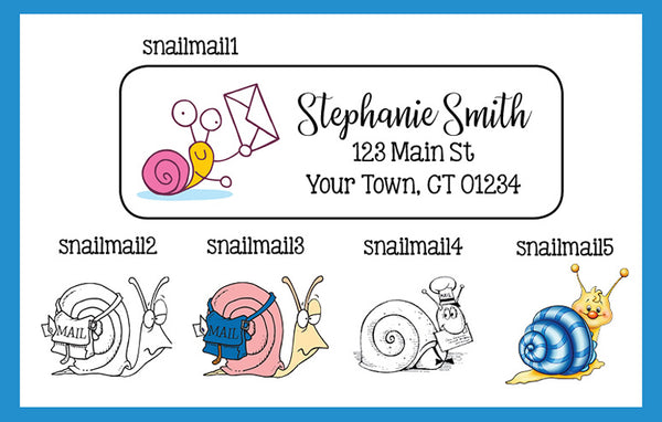 SNAIL MAIL Personalized Address Labels, 30 per sheet, Snails, Happy Mail
