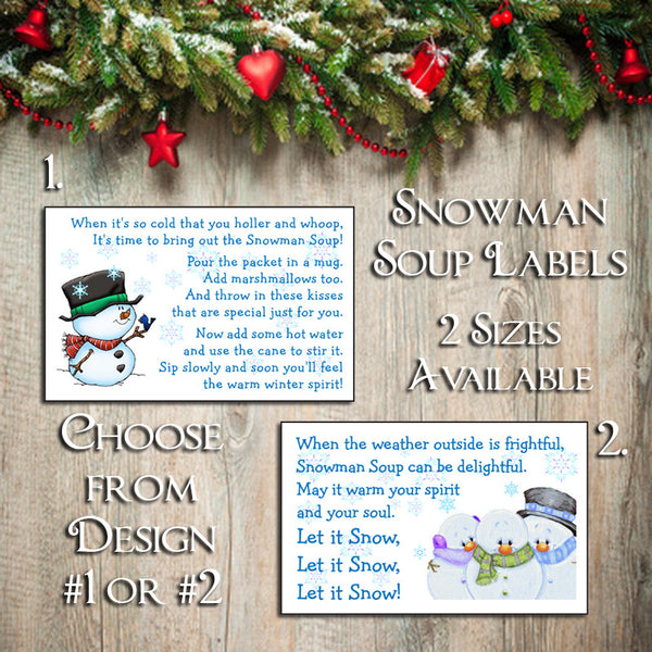 Holiday LABELS for SNOWMAN SOUP - Label your Hot Chocolate Goody Bags - J & S Graphics