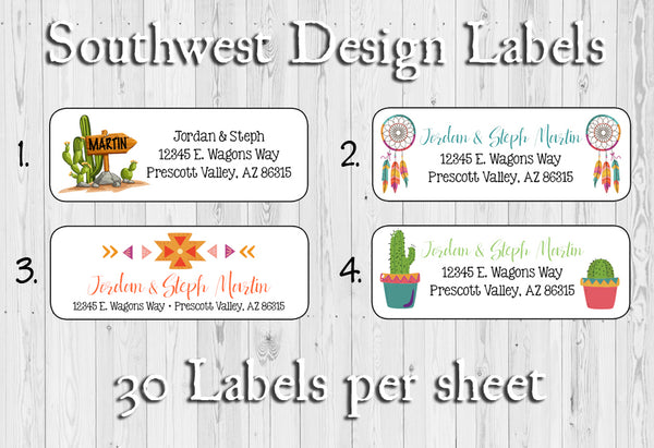 SOUTHWEST Designs Personalized Return ADDRESS Labels, Cactus, Dream Catcher, Sets of 30