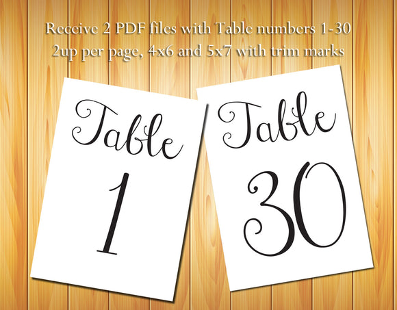 Table Numbers 1-30, Black Script - DIY Printable Table Numbers for Wedding or other event - J & S Graphics