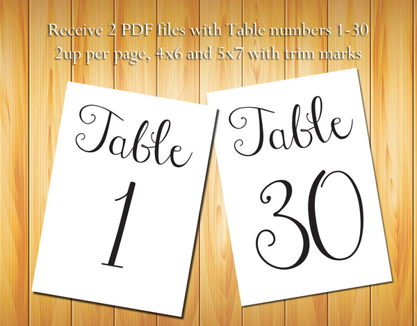 Table Numbers 1-30, Black Script - DIY Printable Table Numbers for Wedding or other event