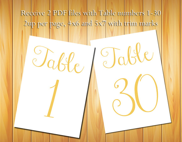 Table Numbers 1-30, Gold Script - DIY Printable Table Numbers for Wedding or other Event - J & S Graphics