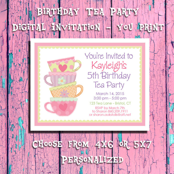 photo relating to Printable Tea Party Invitations identified as Printable Tea Social gathering Birthday, Custom made Get together Invitation 4 - Electronic Record