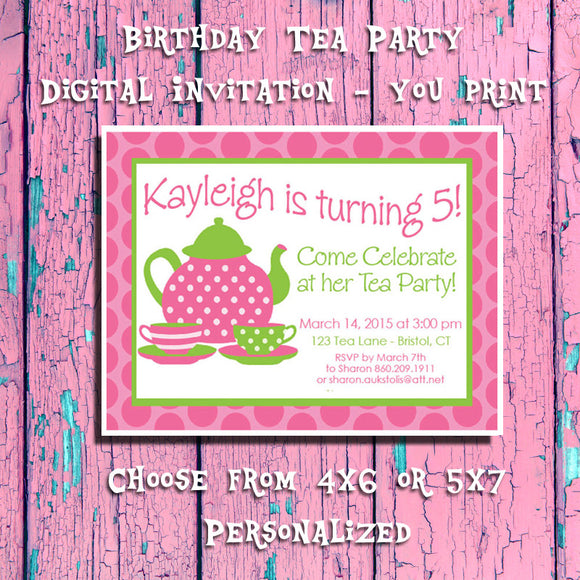 picture about Printable Tea Party Invitations called Printable Tea Bash Birthday, Bash Invitation 5 - Tailored Electronic Record