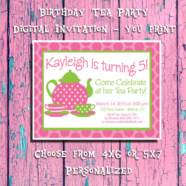 Printable Tea Party Birthday, Party Invitation 5 - Personalized DIGITAL FILE - J & S Graphics