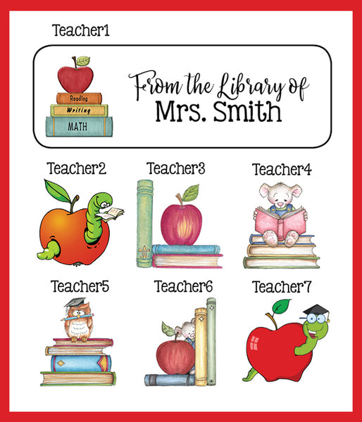 Personalized TEACHER BOOK or Return ADDRESS Labels, Apple, Read, Books, Sets of 30