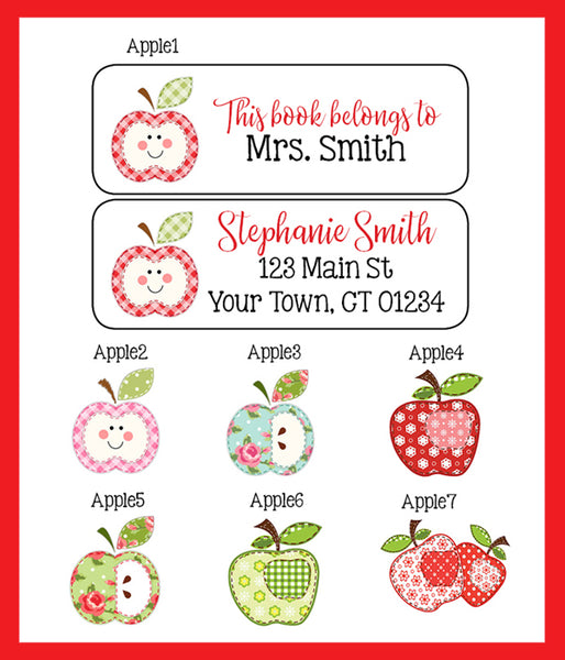 Personalized TEACHER BOOK or Return ADDRESS Labels, Patchwork Apples, Sets of 30