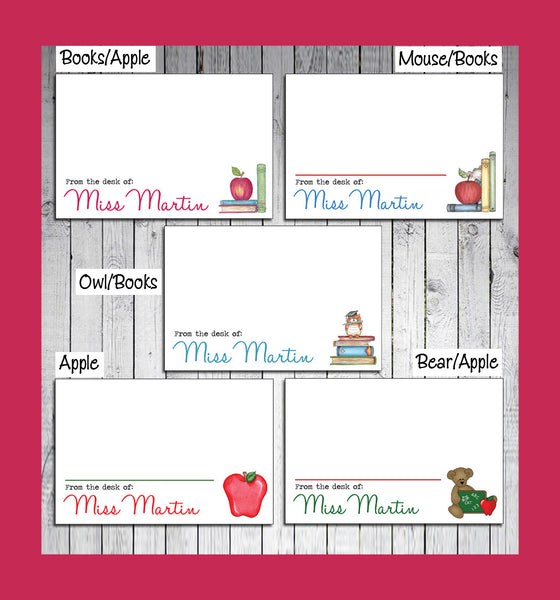 TEACHER Design Flat Personalized NOTE CARD, Thank You Note, Digital File - Thank You Notes, I Personalize and You Print, Apple, Books, Owl - J & S Graphics